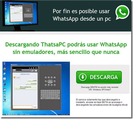 Timo del WhatsApp para PC en Facebook